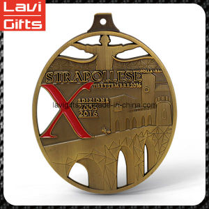 Metal Old Gold Oval Award Sport Medal with Ribbon pictures & photos