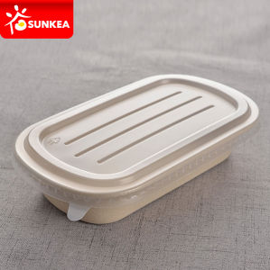 Wheat Straw Fiber Pulp Food Box with Plastic Lid pictures & photos