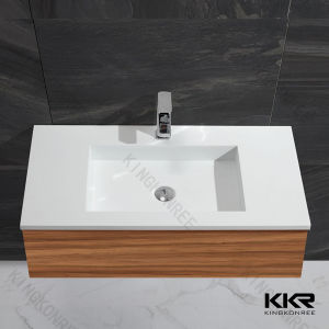 White Solid Surface Marble Bathroom Cabinet Hand Basin pictures & photos