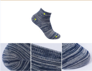 Anti-Bacterial Silver Fiber Stripe Cotton Socks for Men pictures & photos