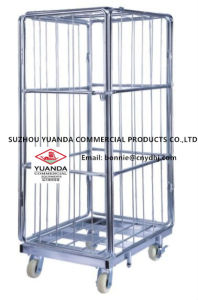 Heavy-Duty 50*50mm Rigid Rolling Collapsible Wire Mesh Container with Caster pictures & photos