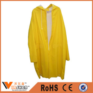 Yellow Polyester Raincoats Long Sleeve Waterproof Rain Coats pictures & photos