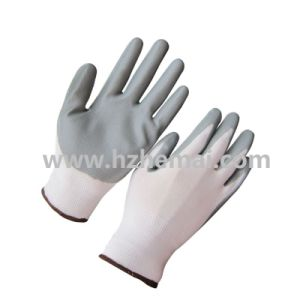 Grey Nitrile Coated Gloves with 13G White Nylon Liner pictures & photos
