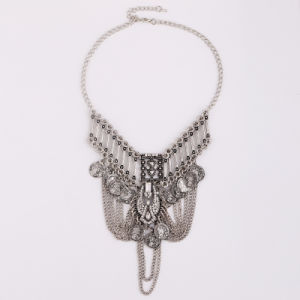 Exaggerated Chain Vintage Coins Tassel Statement Fashion Alloy Necklace Jewelry pictures & photos