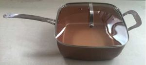 Copper Square Frying Pan 10 Inch Nonstick Fry Pan with Lid pictures & photos
