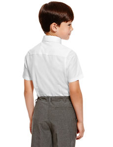 Slim Fit Boys′ Ultimate Non-Iron Short Sleeve Shirts with Stain Away pictures & photos