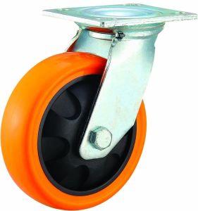 4/5/6/8 Inch Heavy Duty Orange PU Castor Wheel Industrial Rigid PU Caster pictures & photos