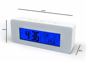 Digital Blue LED Backlight Music Alarm Clock with Temperature & Timer pictures & photos