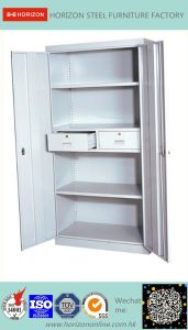 Steel High Storage Cabinet with Two Swinging Steel Doors and Two Drawers