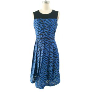 Ladies Fashion Casual Dress in Cut out Jacquard
