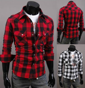 Mens Plaids Check Slim Fit Stylish Wholesale Cotton Hemp Shirt pictures & photos