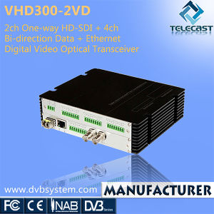 2CH One-Way HD-SDI + 4CH Bi-Direction Data + Ethernet Digital Video Optical Transceiver (VHD300-2VD)