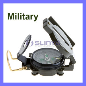 Multifunction Mini Military Camping Marching Lensatic Compass Magnifier Army Green Buckle Clip (OD311) pictures & photos
