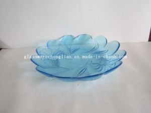 Solid Color Flower-Shape Glass Plate (P-013) pictures & photos
