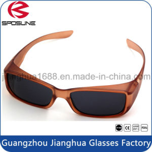 Shatterproof Frame Eye Nearsighted Sun Shades Fit Over Glasses Brown Frame Dark Polarized Lens for Cycling Driving Riding pictures & photos