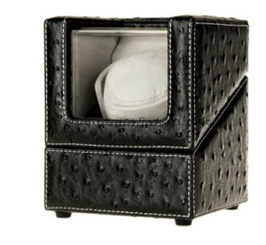 Latest Design Smart Black Ostrich Grain PU Leather Single Watch Winder pictures & photos