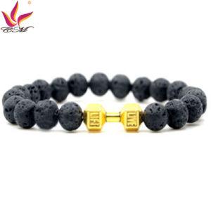 SMB009 Popular Black Color Lava Stones and Gold Color Metal Part Bracelet with Diamonds pictures & photos