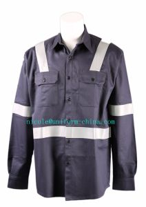 Navy Safety Reflective Workin Fr Shirt Uniform for Welder and Firefighter pictures & photos