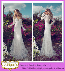 2014 Latest Fashion Sexy White Sheath V Neck Button Back Long Sleeves Full Lace Julie Vino Wedding Dresses Without Train