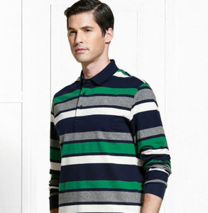 Wholesale Top Quality Long Sleeves Striped Casual Men′s Polo Shirt pictures & photos