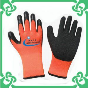 Latex Coated with Orange Looped Pile Gloves of Work Glove