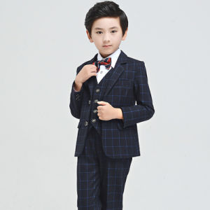 Spring Boys Wedding Suits Wholesale Plaid Kids Two-Piece Formal Suit pictures & photos
