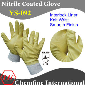 "Interlock Glove with Yellow Nitrile Full Coating & Knit Wrist/ En388: 4111/ Size 7"", 8"", 9"", 10 (YS-092) pictures & photos"