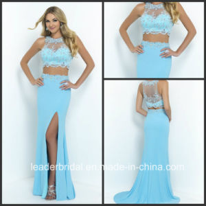 Two Piece Blue Lace Cocktail Party Gowns Fashion Vestidos Evening Dress Ld15298 pictures & photos