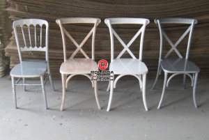 Solid Wood Stackble Cross Back Chair for Sale pictures & photos