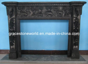 Black Marble Carving Fireplace Mantel pictures & photos