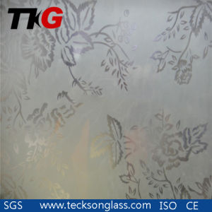3-12mm Clear Acid Etched Glass with Flower Design pictures & photos