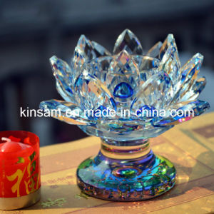 2016 New Design Colorful Crystal Lotus Glass Candle Holder pictures & photos