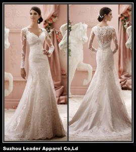 Sheer Sleeves Wedding Dress Mermaid Lace Bridal Wedding Gown Ld11611 pictures & photos