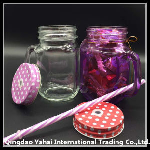 450ml Clear Glass Mason Jar Witn Colored Metal Lid pictures & photos