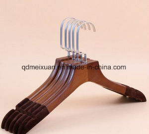 Real Wood Hangers Flocking Vintage Wooden Hangers Non-Trace Pants Aircraft Plant a Pullover (M-X3540) pictures & photos