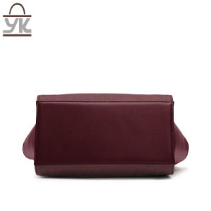 Contrast Color Good Quality PU Leather Women Bat Handbag pictures & photos