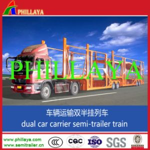 Hydraulic System Two Single Wheel Axles Car Trailer pictures & photos