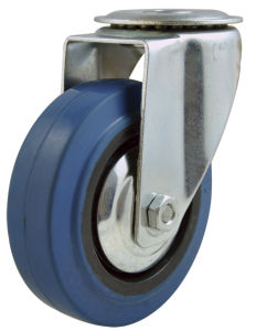 Industrial Elastic Rubber Caster, Bolt Hole
