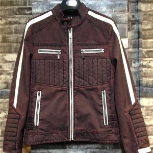 Brown-White Stand Collar Zipper Fashion Casual Men Leather PU Jackets (syt002) pictures & photos