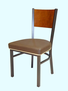 Wood Back Upholstered Metal Bistro Bar Chair and Dining Chair pictures & photos