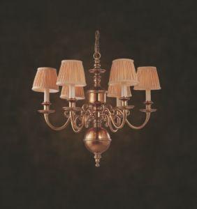 Modern Top Popular New Design Fabric Copper Indoor Chandelier (N10033-6)