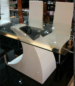 Modern Glass Table with High Glossy Painting