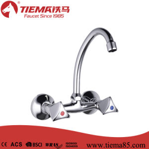 Economic Dual Handle Wall-Mounted Kitchen Faucet (ZS57707)