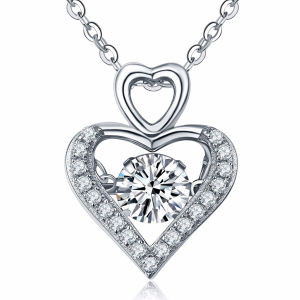 Double Heart 925 Silver Pendants with Dancing Diamond Jewelry pictures & photos