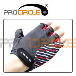 Brand New Cotton Cycling Gloves with Red Black and Blue Stripes (PC-CG1016) pictures & photos