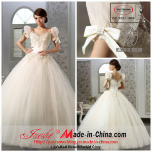 V-Neck Floor Length Beaded Lace Satin Tulle Ball Gown (Q-87)
