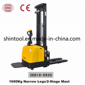 1.6 Ton Electric Manual Stacker Cdd16-D930 2-Stage Mast pictures & photos