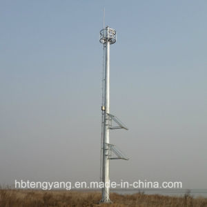 Galvanized Steel Telecommunication Single Pipe Tower Made in China pictures & photos