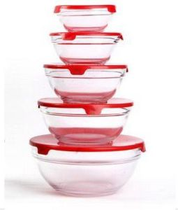 Glass Bowl 5PCS Set with PP Lid pictures & photos