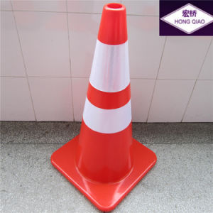 "28"" High 7 LB Orange PVC Traffic Cone with Two 4"" Reflective Collars pictures & photos"